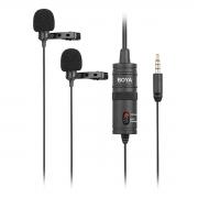 Microfone de lapela duplo Omnidirecional Boya BY-M1DM