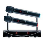 Microfone sem fio duplo de mão, UHF com 32 canais | Alimentação via cabo USB | MS315 | TSI