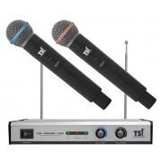 Microfone sem fio duplo de mao VHF TSI MS420