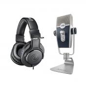 Microfone USB AKG Lyra + Fone Audio-Technica ATH-M20X