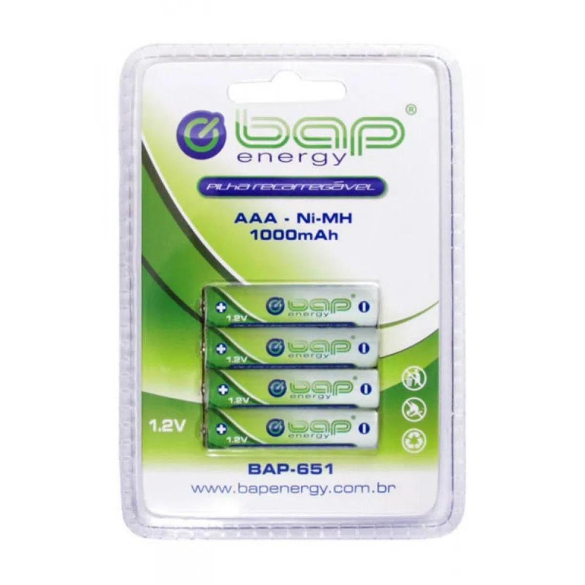 4 Pilhas AAA Recarregáveis 1.2V 1000 mAh BAP BAP-651