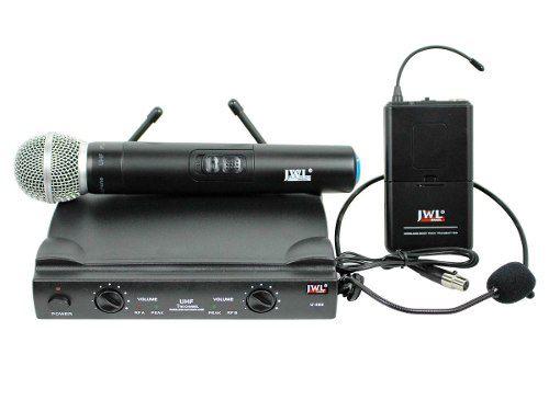 Microfone Sem Fio Duplo Mao Headset Uhf | JWL | U858MH