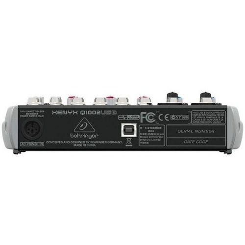 Mesa Som com 6 canais, 2 pré-amplificador + 4 canais estéreo e USB | Behringer | Q1002USB