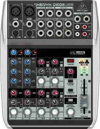 Mesa Som com 6 canais, 2 pré-amplificador + 4 canais estéreo e USB   Behringer   Q1002USB