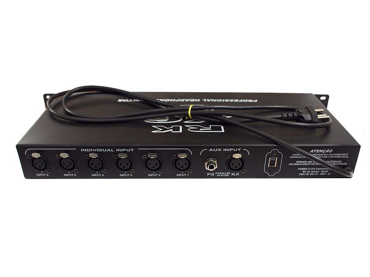 Amplificado para fone de ouvido com 6 canais | IN XLR, OUT P10 Estéreo | Power Click | RKX6