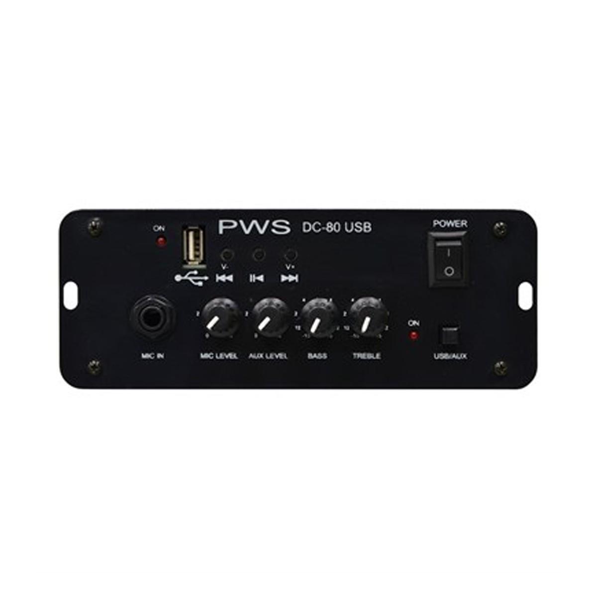 Amplificador 12v Carro propaganda 1 Mic,,  Aux/USB PWS DC80USB
