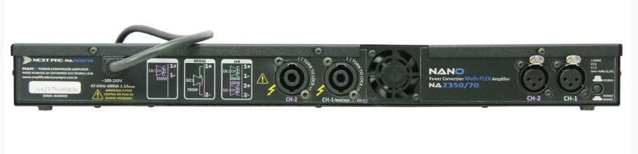 Amplificador 70v 2 canais de 300W 16Ω dual/stereo ou 600W 32Ω bridge | Next Pro | NA 2350/70