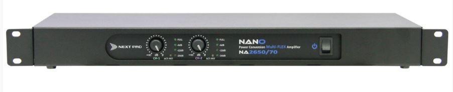 Amplificador 70v 2 canais de 600W 8Ω dual/stereo ou 1200W 16Ω bridge | Next Pro | NA 2650/70