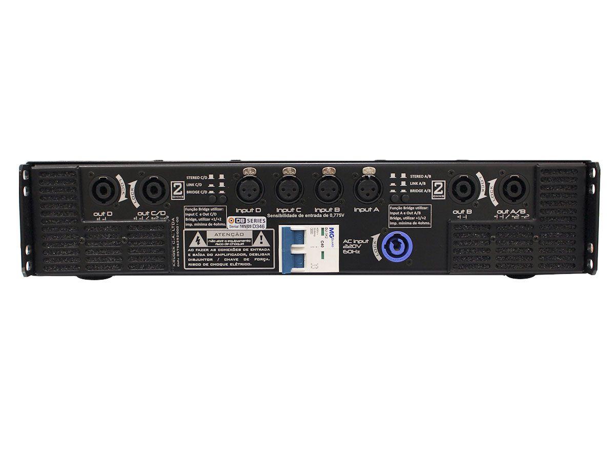 Amplificador de áudio, Classe D com 4 canais de até 1525W RMS em 2 ohms   DB Series   Q6K