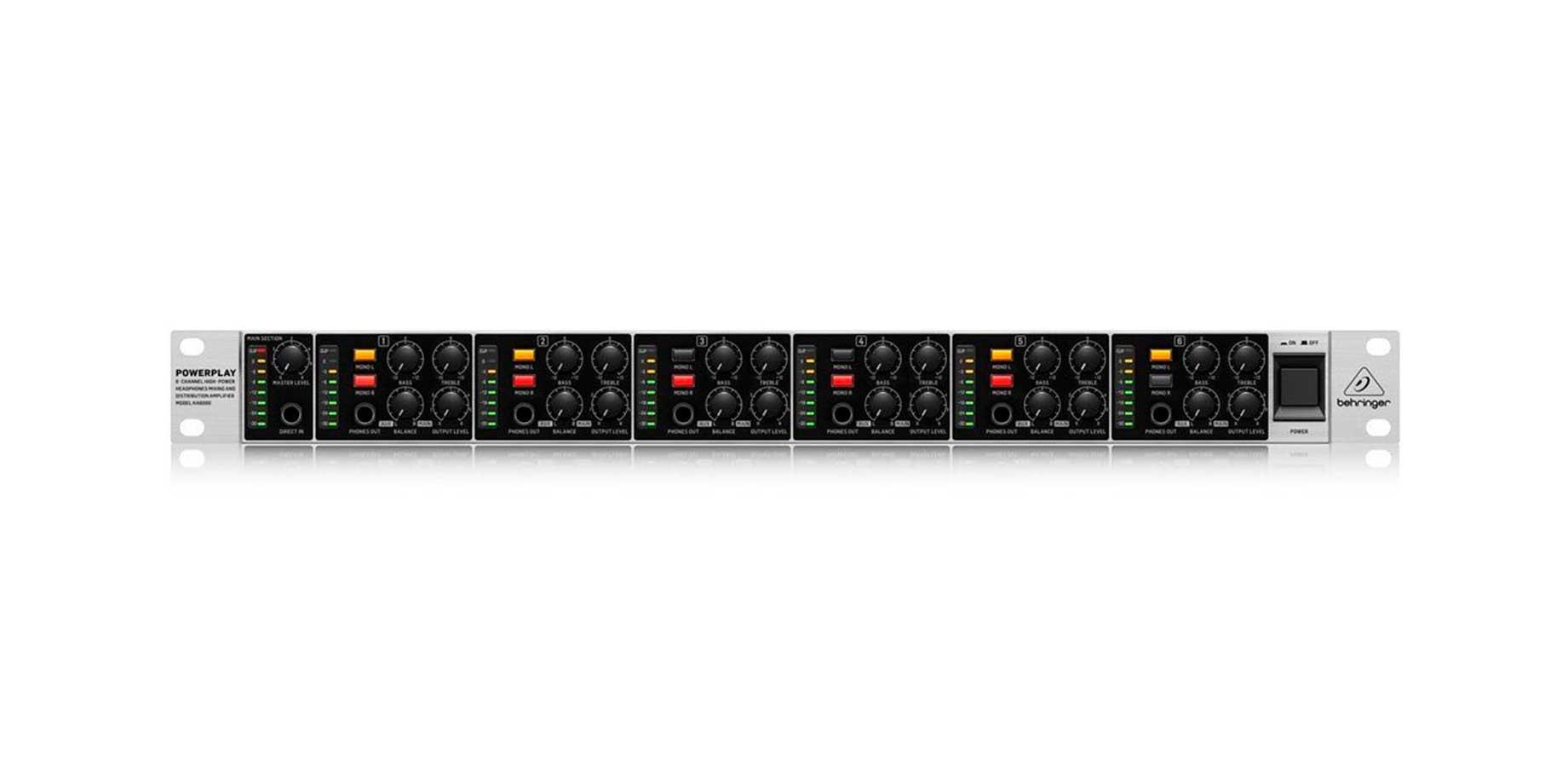 Amplificador 6 canais mono/estéreo Behringer HA6000