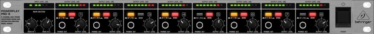Amplificador de fone 8 canais Behringer HA8000