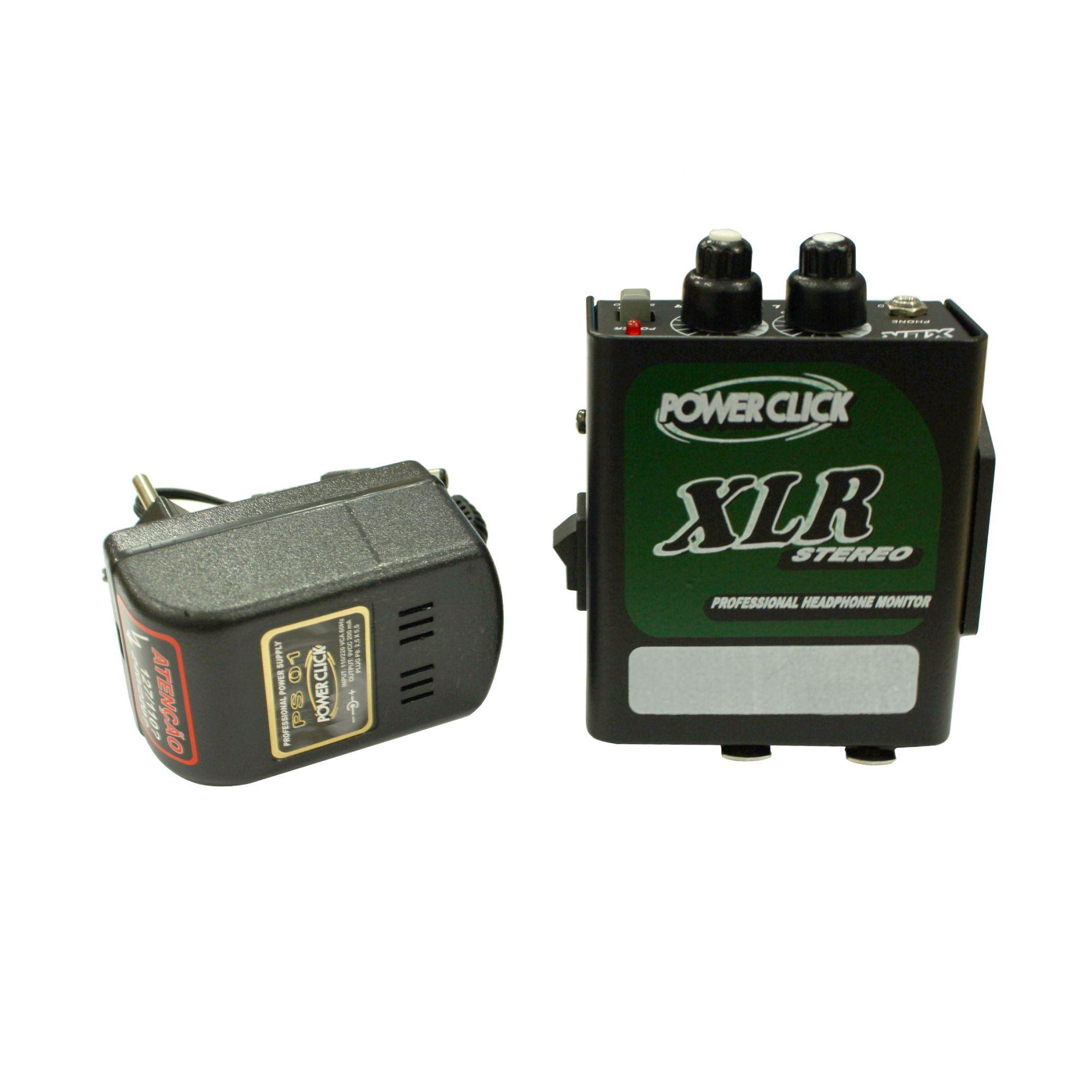 Amplificador de Fone estéreo de 2 canais e conexão XLR | Bateria 9v ou Fonte | Power Click | XLR S