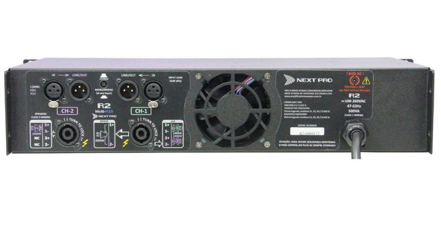 Amplificador de potencia com 2 canais de 1000W @ 2Ω ou 4Ω | Next Pro | R2
