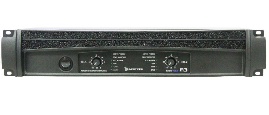 Amplificador de potencia com 2 canais de 1800W @ 2Ω ou 2x de 1400W @ 4Ω | Next Pro | R3