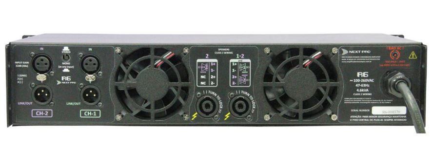 Amplificador de potencia com 2 canais de 3600W @ 2Ω | Next Pro | R6