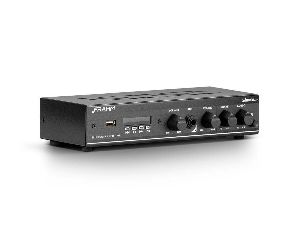 Amplificador de som ambiente de 2 canais, bivolt e com 30 watts | Bluetooth, USB, FM e Entrada para Microfone | Frahm | SLIM 800 APP