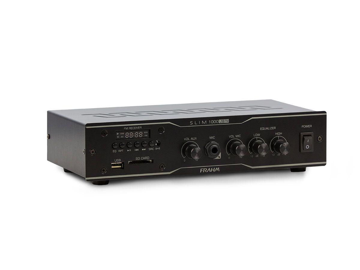 Amplificador de som ambiente de 2 canais, bivolt e com 30 watts | USB, FM e Entrada para Microfone | Frahm | SLIM 1000 USB/FM