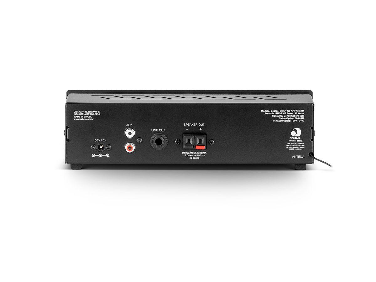 Amplificador para Som ambiente 2x 40W Frahm SLIM1000APP