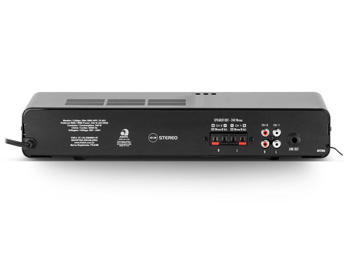 Amplificador de som ambiente de 2 canais de 120 watts | Bluetooth, USB, FM e Entrada para Microfone | Frahm | SLIM 3500 APP G2