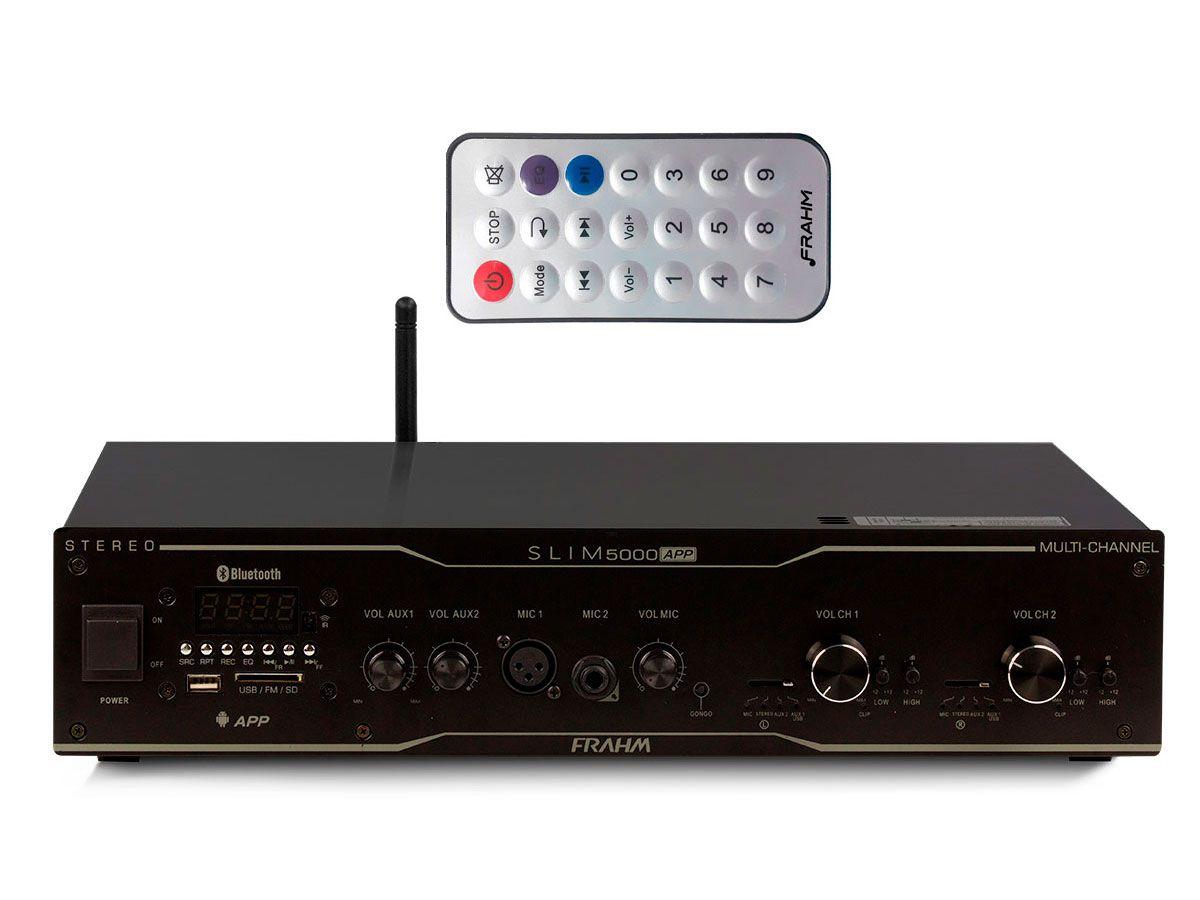 Amplificador de som ambiente de 2 canais de 300 watts | Bluetooth, USB, FM e Entrada para Microfone | Frahm | SLIM 5000 APP