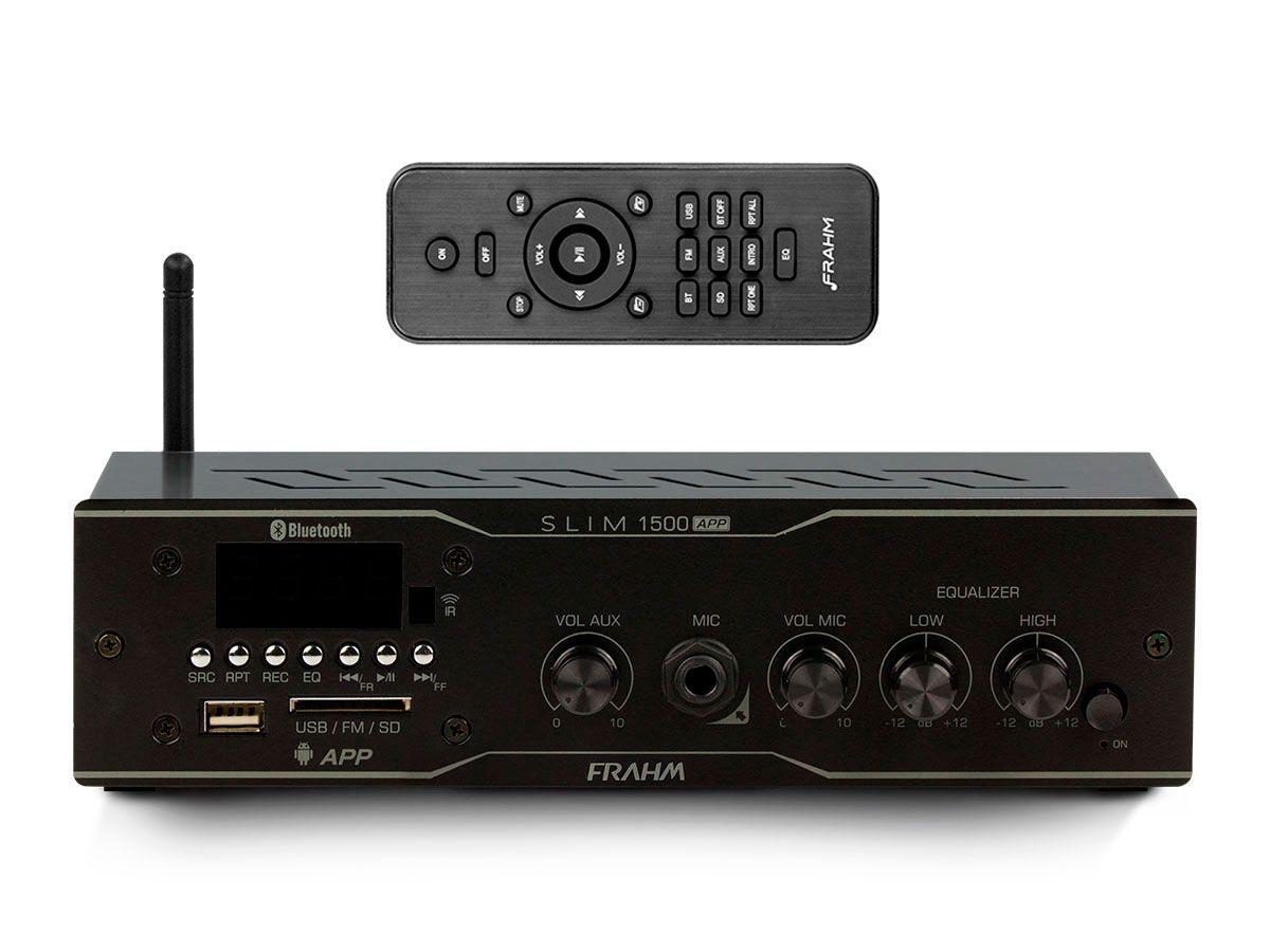 Amplificador de som ambiente de 2 canais de 30 watts | Bluetooth, USB, FM e Entrada para Microfone | Frahm | SLIM 1500 APP
