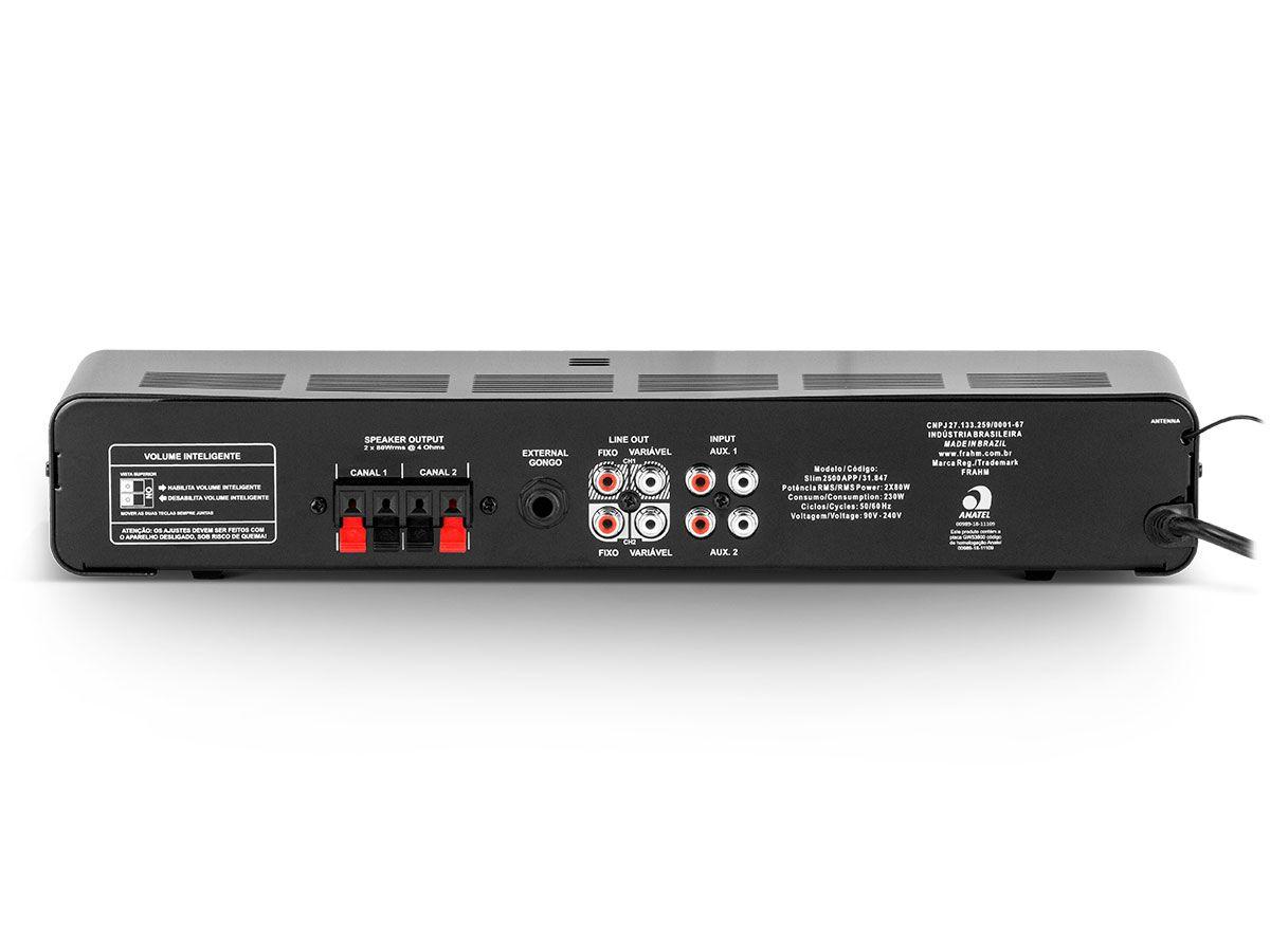 Amplificador de som ambiente de 2 canais de 80 watts | Bluetooth, USB, FM e Entrada para Microfone | Frahm | SLIM 2500 APP G2