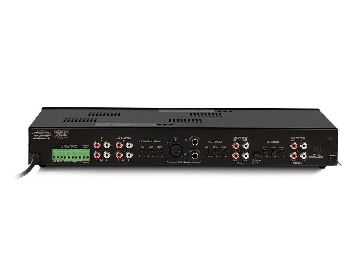 Amplificador de som ambiente de 4 canais de 120 watts | Bluetooth, USB, FM e Entrada para Microfone | Frahm | SLIM 4500 APP