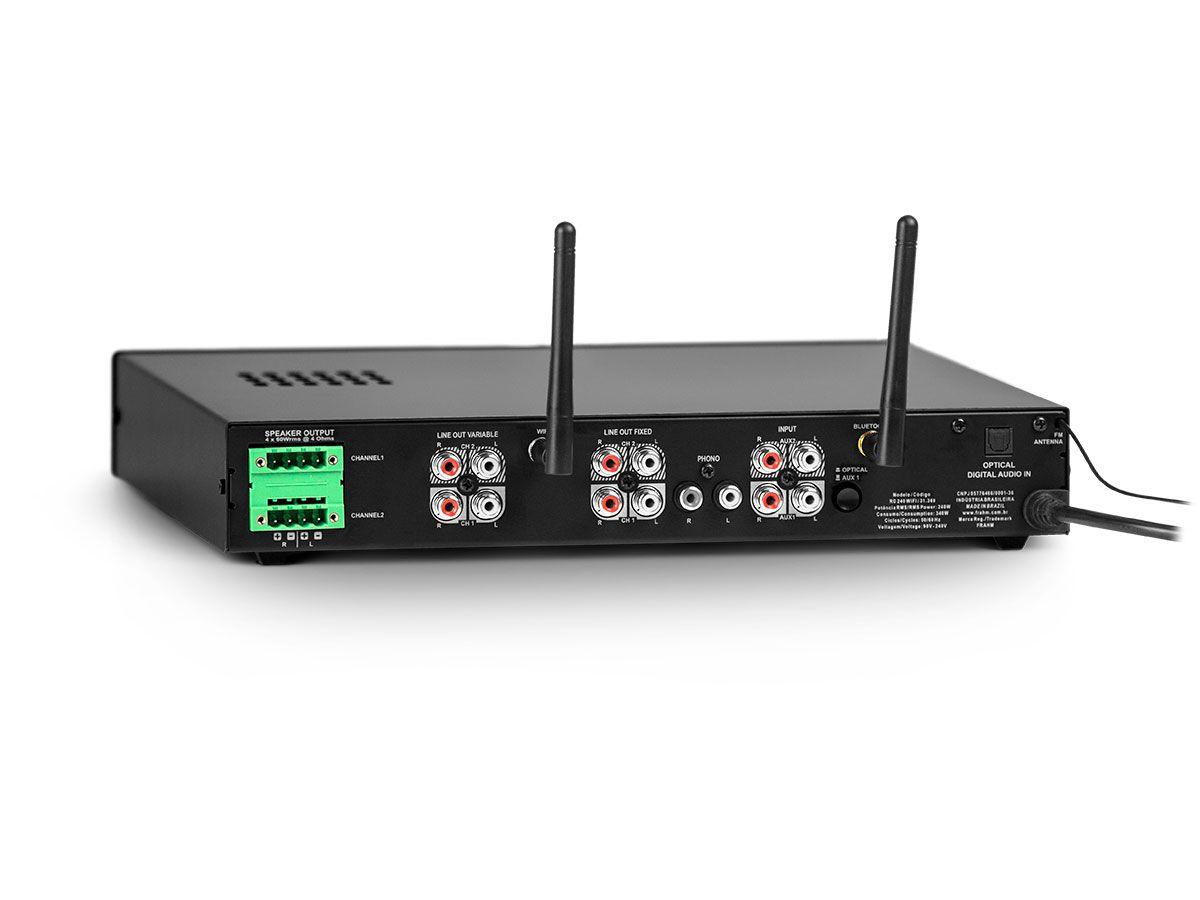 Amplificador de som ambiente de 4 canais de 60W  | Wi-fi, Bluetooth, USB e FM | Frahm | RD 240 WIFI