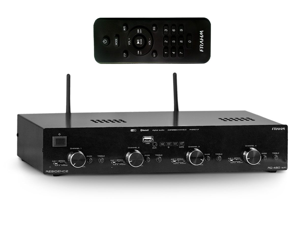 Amplificador de som ambiente de 8 canais de 60W  | Wi-fi, Bluetooth, USB e FM | Frahm | RD 480 WIFI