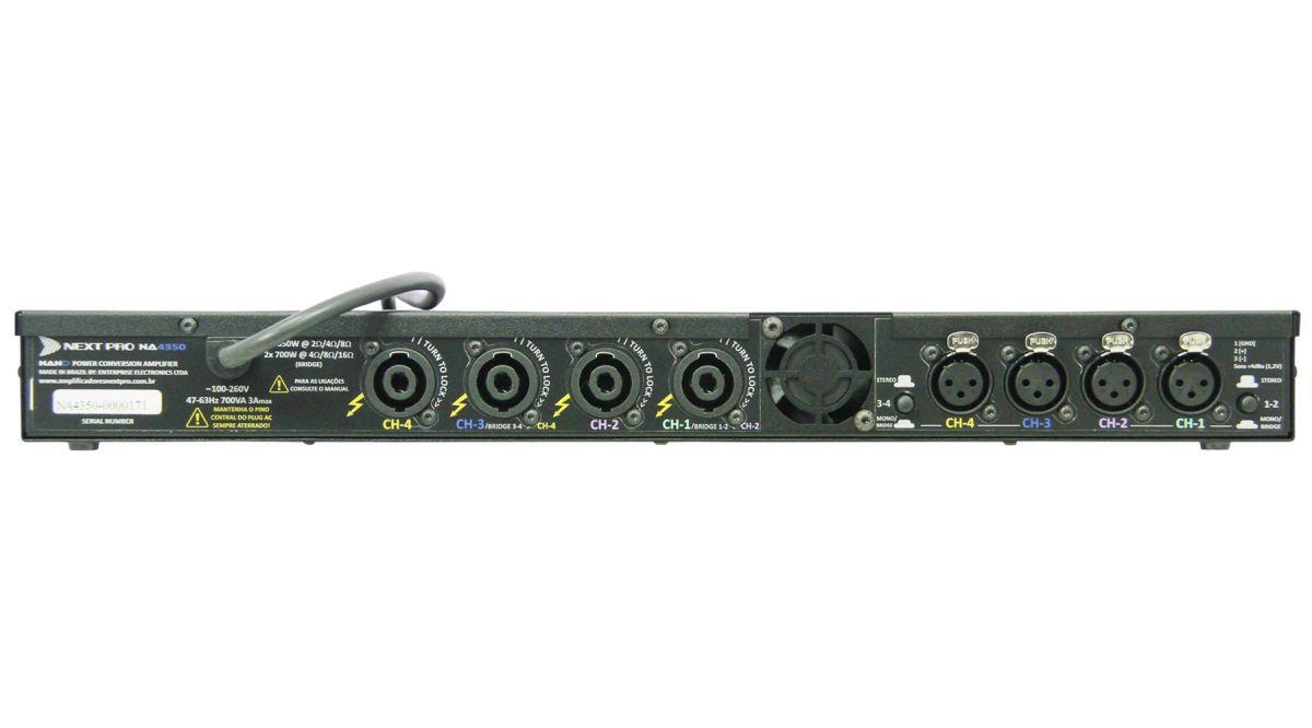 Amplificador digital com 4 canais de 350W em 2, 4 e 8 Ohms | Next Pro | NA 4350