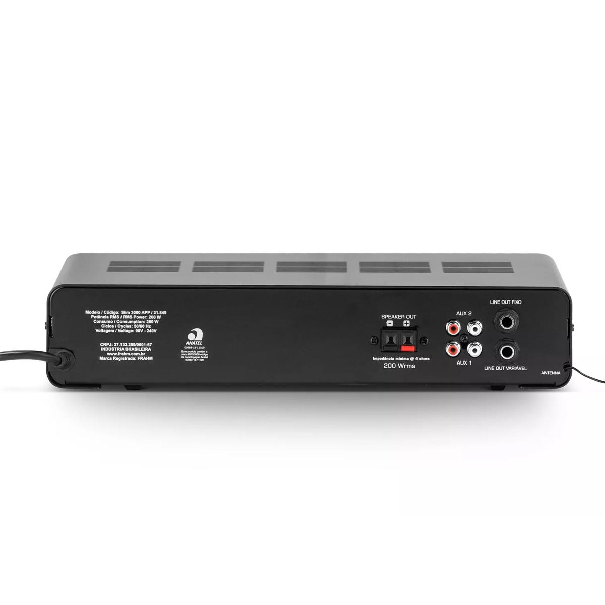 Amplificador para Som ambiente 200W Frahm SLIM3000APP