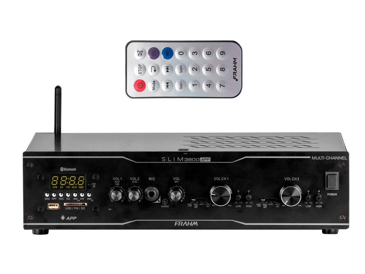Amplificador para som ambiente | 2x de 150W  4 ohms, BIVOLT, Bluetooth, USB, FM e entrada para microfone | Frahm | SLIM 3800 APP