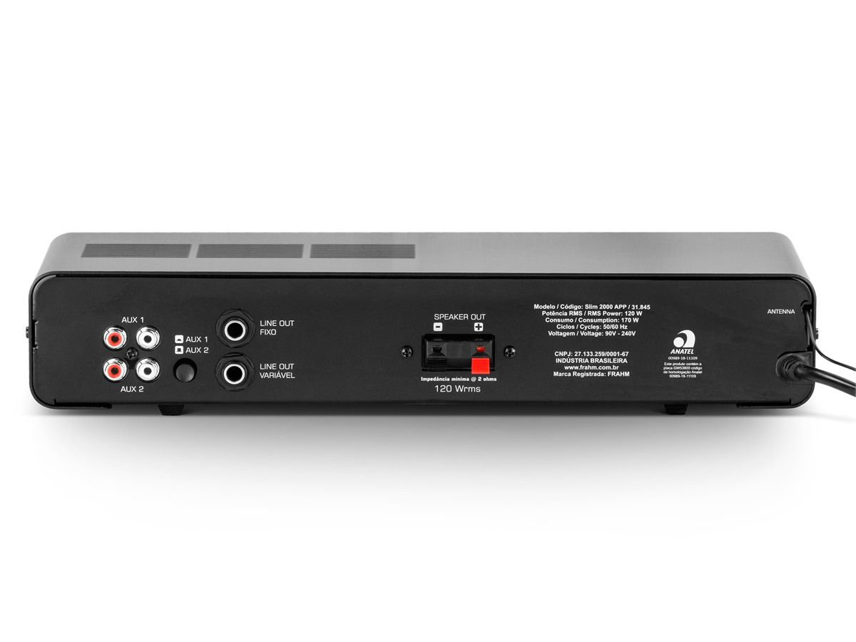 Amplificador de som ambiente de 2 canais, bivolt com 120 Watts | Bluetooth, USB, FM e Entrada para Microfone | Frahm | SLIM 2000 APP G2
