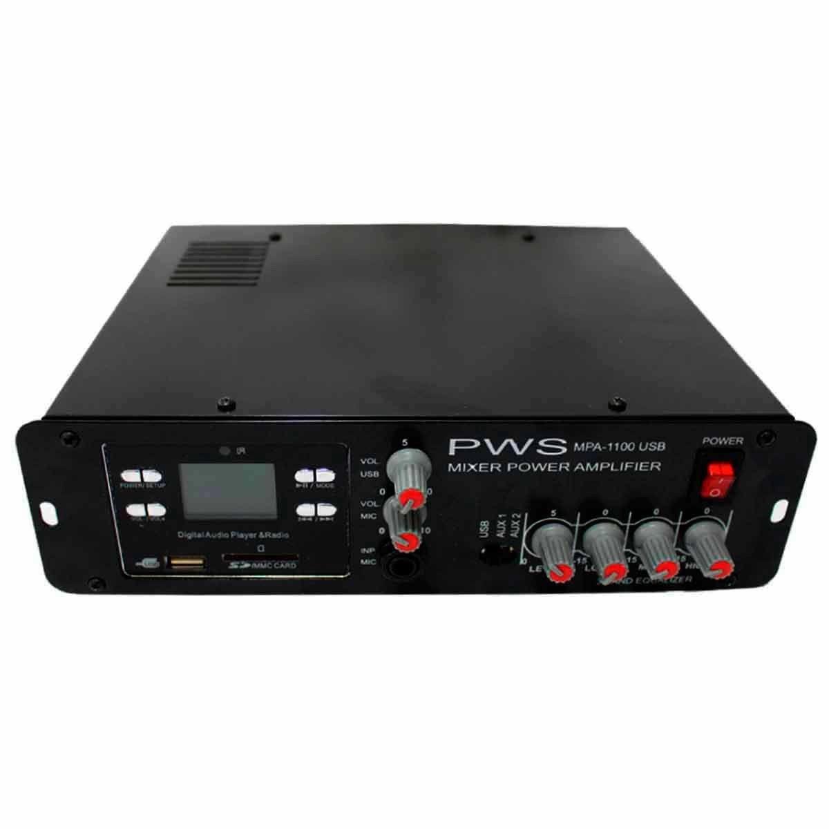 Amplificador USB Som Ambiente 100W PWS MPA 1100USB