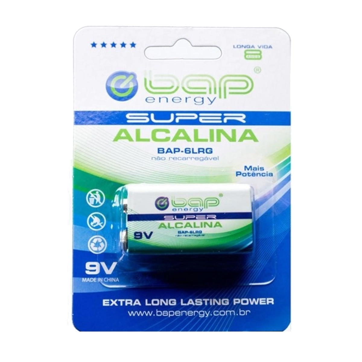 Bateria 9V Alcalina BAP Energy BAP-6LRG