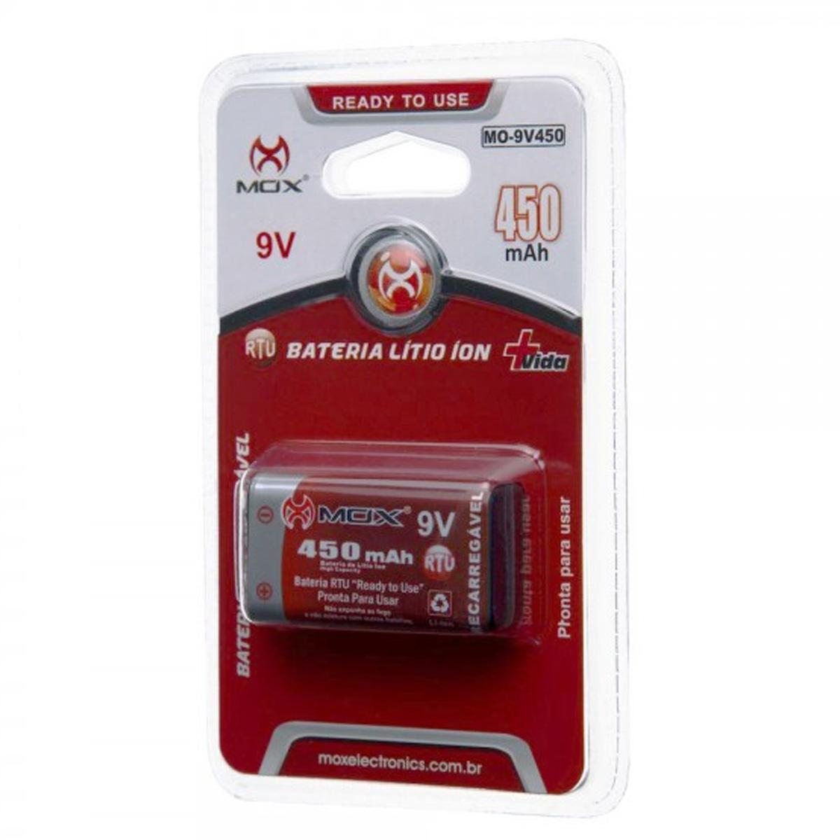 Bateria 9V Recarregável 450 mAh MOX - MO-9V450