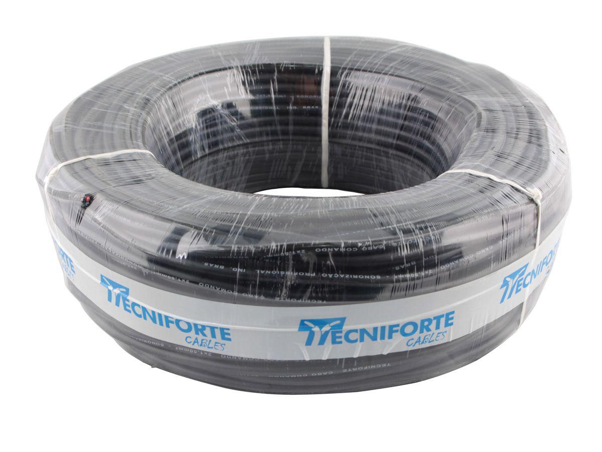 Cabo comando para caixa acústica com 2 vias 2x1,50 mm (rolo com 100m) | Tecniforte | CO2150