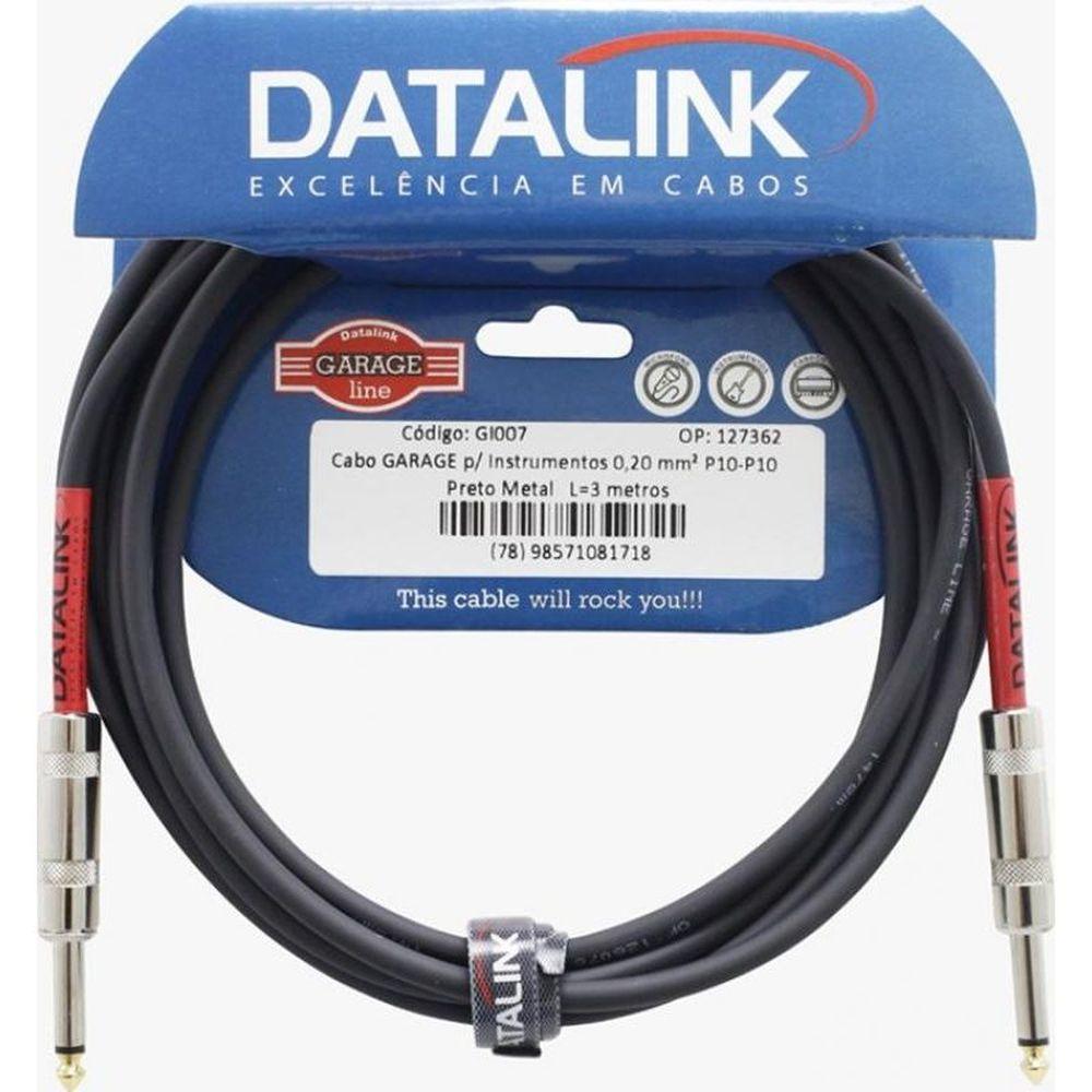 CABO INSTRUMENTO 3 METROS P10 - P10 0,20MM GARAGE DATALINK GI007