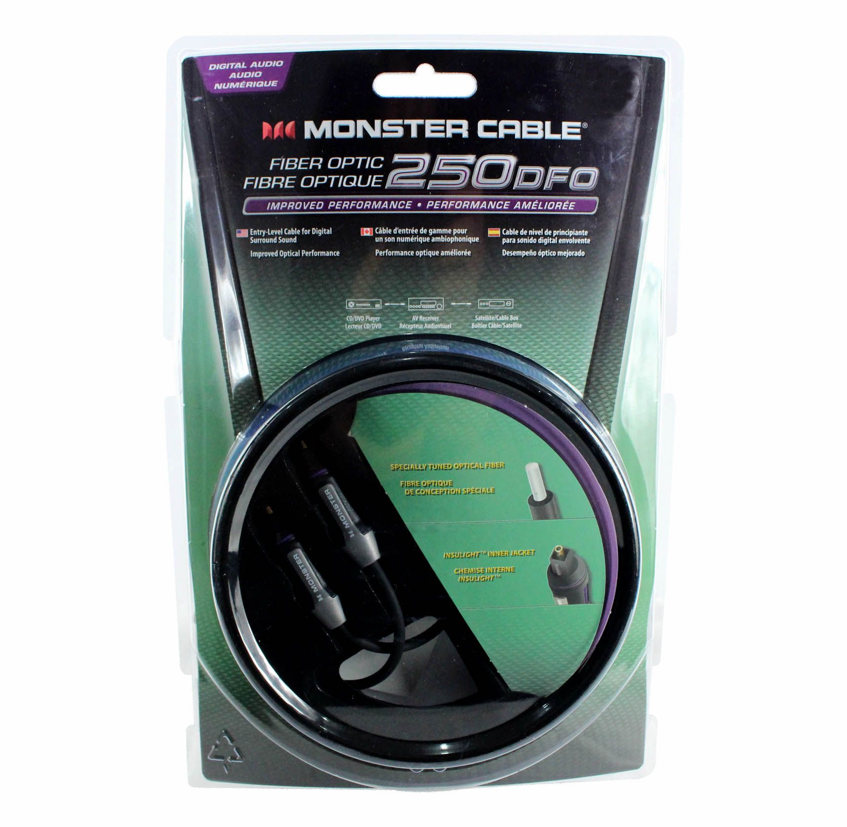 Cabo óptico - 1 metro Monster Cable MC250DFO-1M-EFS