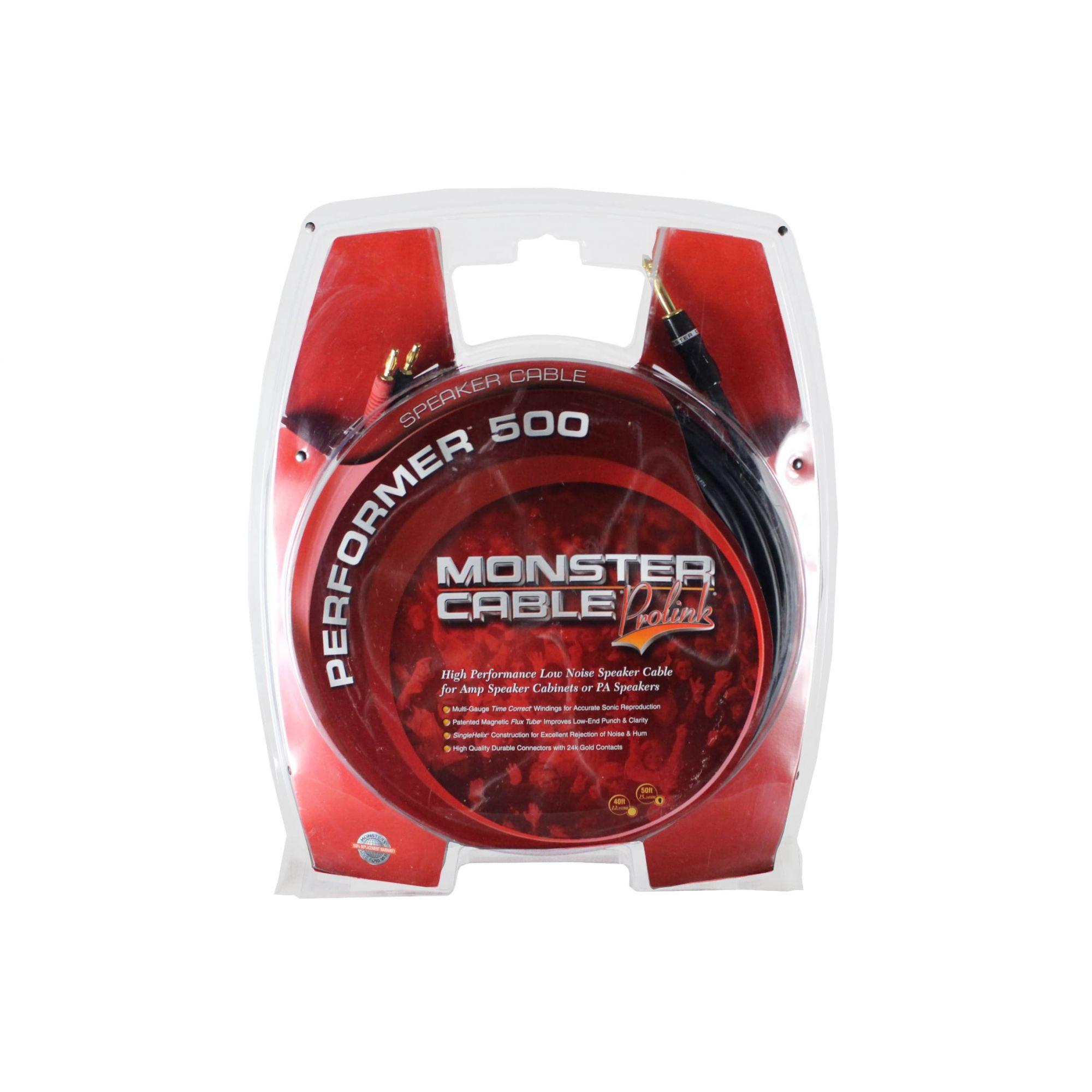 Cabo para caixa de som ou amplificador com 15 metros | 2 Bananas Positivo - Negativo / P10 mono | Monster Cable | M P500-S-50MT