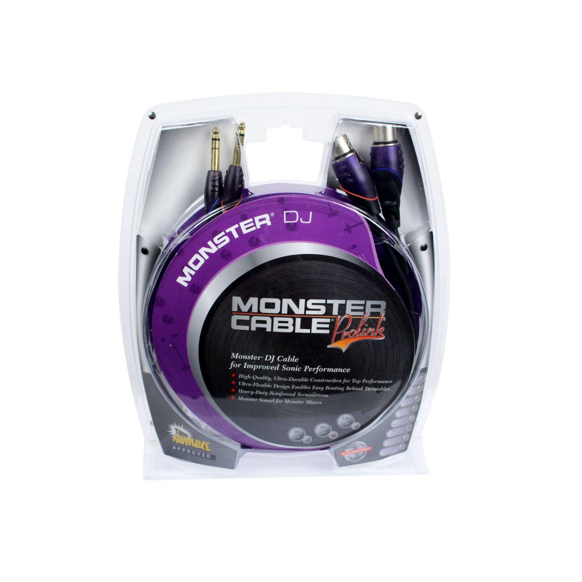 Cabo para equipamentos de DJ | 2 P10 Estéreo / 2 XLR Fêmea 3 pinos de 2 metros | Monster DJ | M DJ-CFX-2M