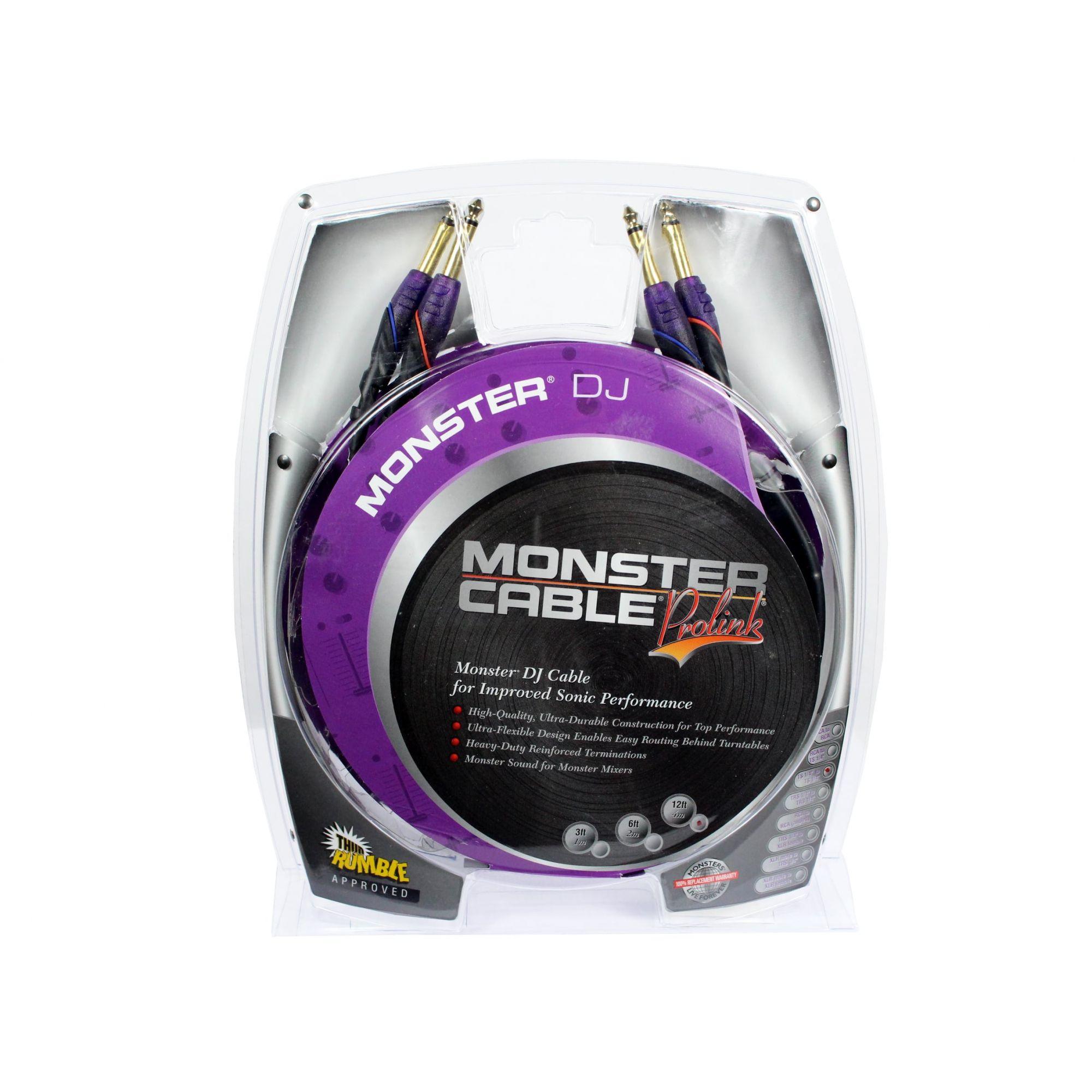 Cabo para equipamentos de DJ | 2 P10 MONO / 2 P10 MONO de 4 metros | Monster DJ | M DJ-M-4M