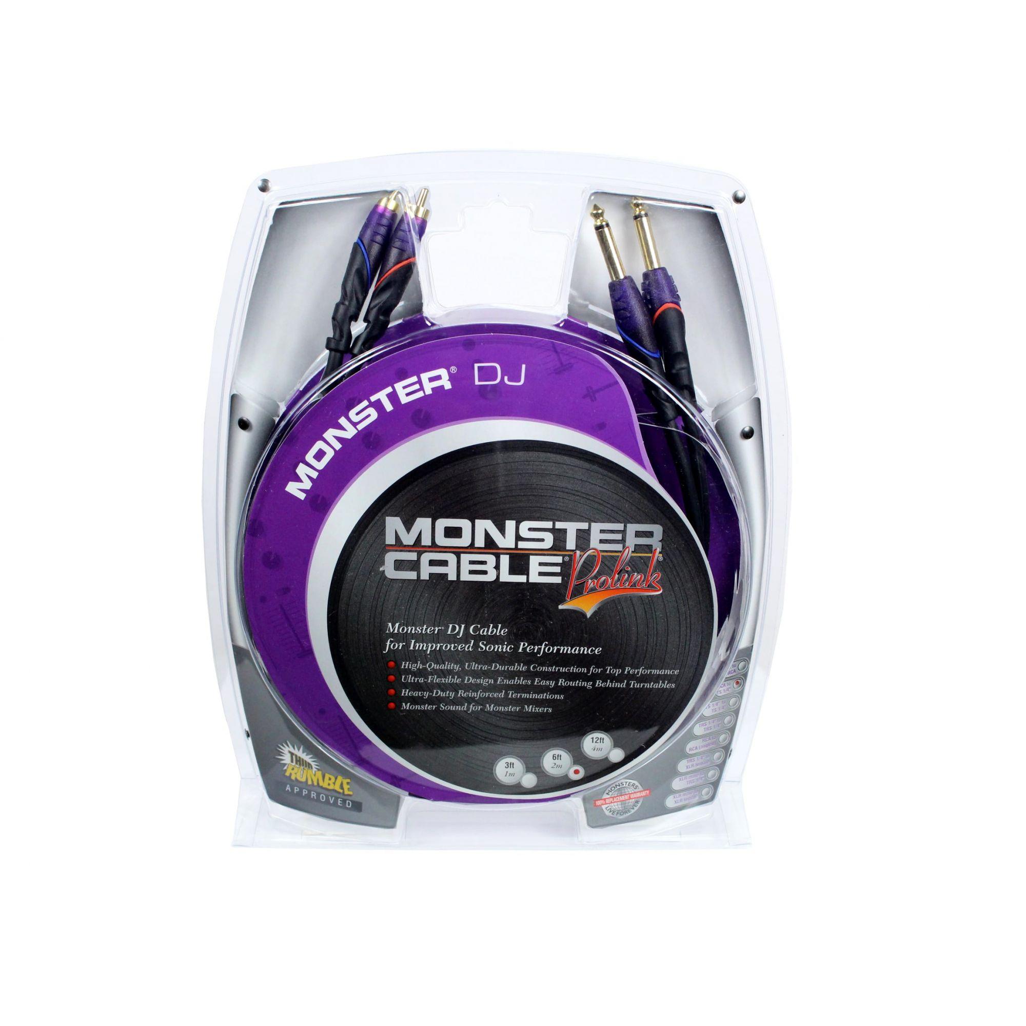 Cabo para equipamentos de DJ | 2 P10 MONO / 2 RCA de 2 metros | Monster DJ | M DJ-CR-2M