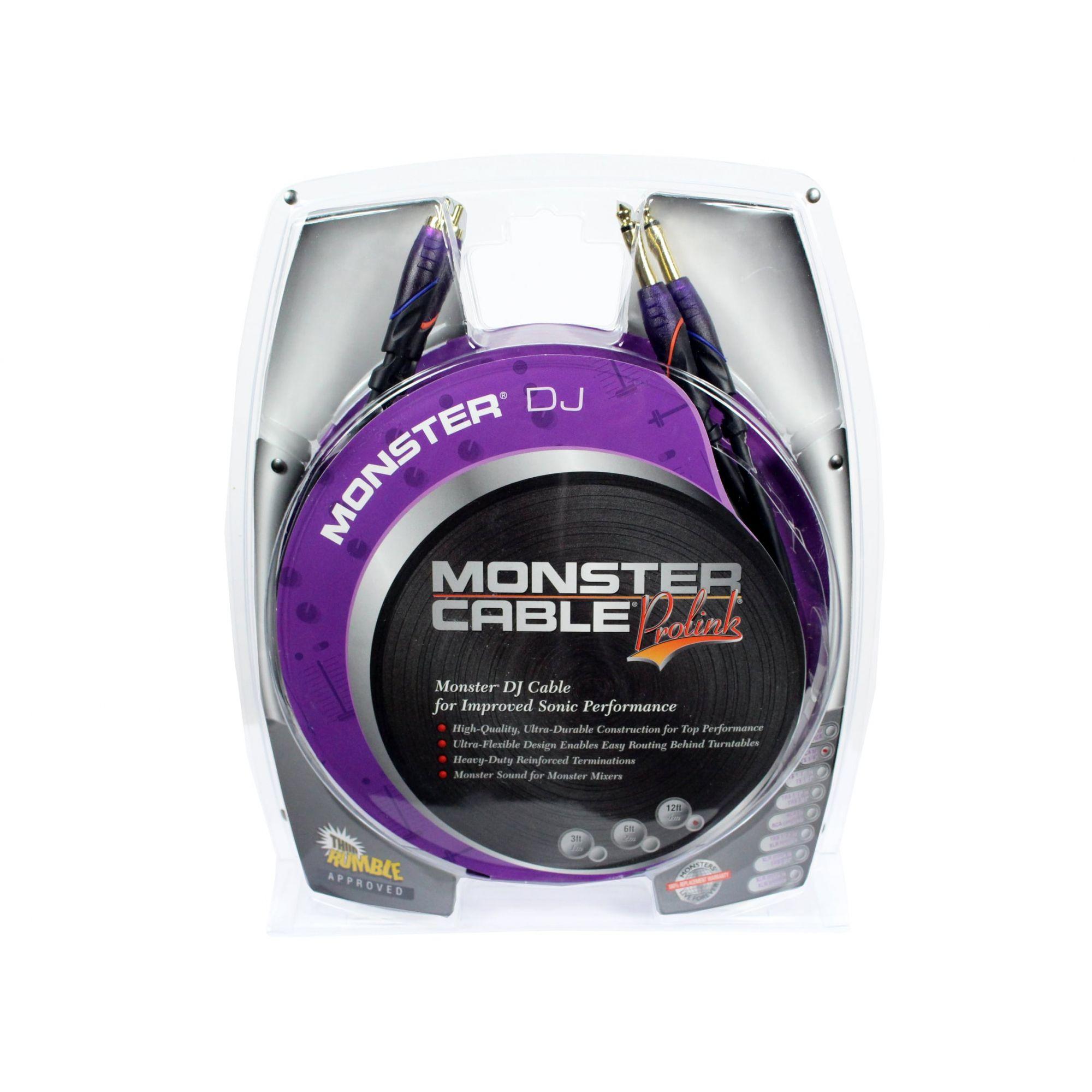 Cabo para equipamentos de DJ | 2 P10 MONO / 2 RCA de 4 metros | Monster DJ | M DJ-CR-4M