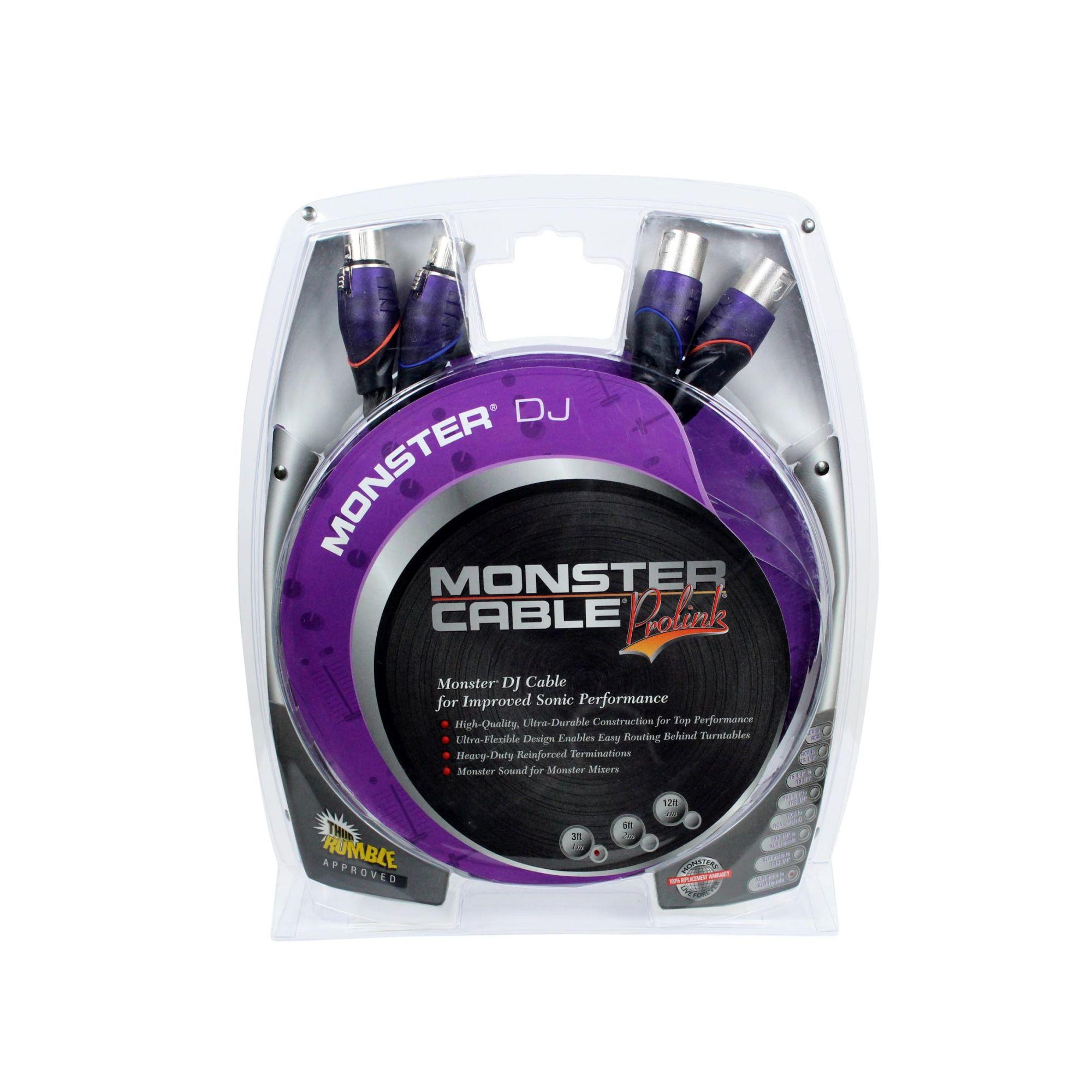 Cabo para equipamentos de DJ | 2 XLR Macho / 2 XLR Fêmea 3 pinos de 1 metro | Monster DJ | MDJ-X-1M