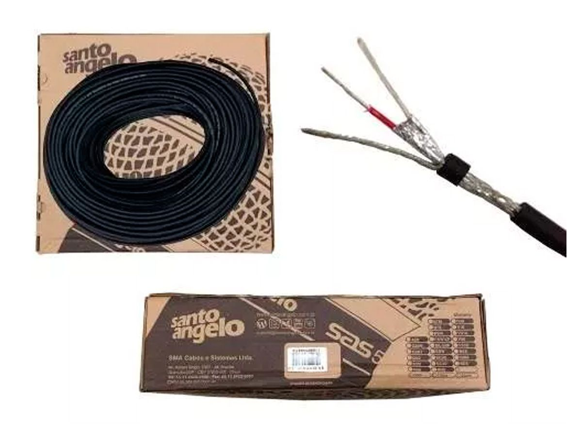 Cabo microfone balanceado 2x0,30mm 100 M Santo Angelo X30