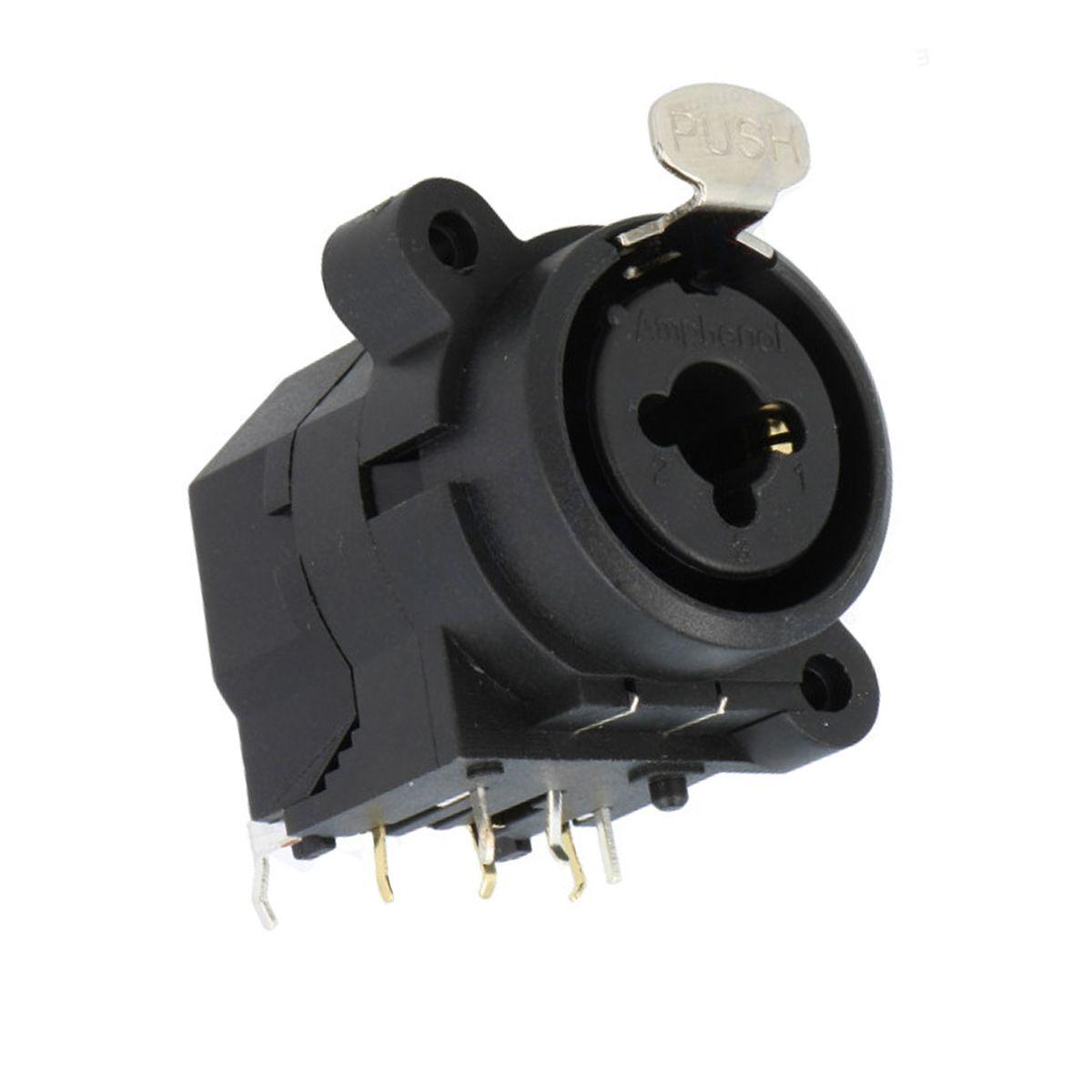 Conector combo com contatos horizontal, P10 Fêmea estéreo + XLR Fêmea de painel 3 pinos | Amphenol | ACJC6H