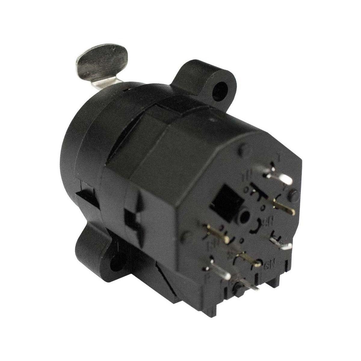 Conector combo com contatos vertical, P10 Fêmea estéreo + XLR Fêmea de painel 3 pinos | Amphenol | ACJC6V