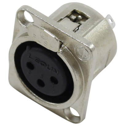 Conector de som XLR fêmea 3 Polos painel Datalink