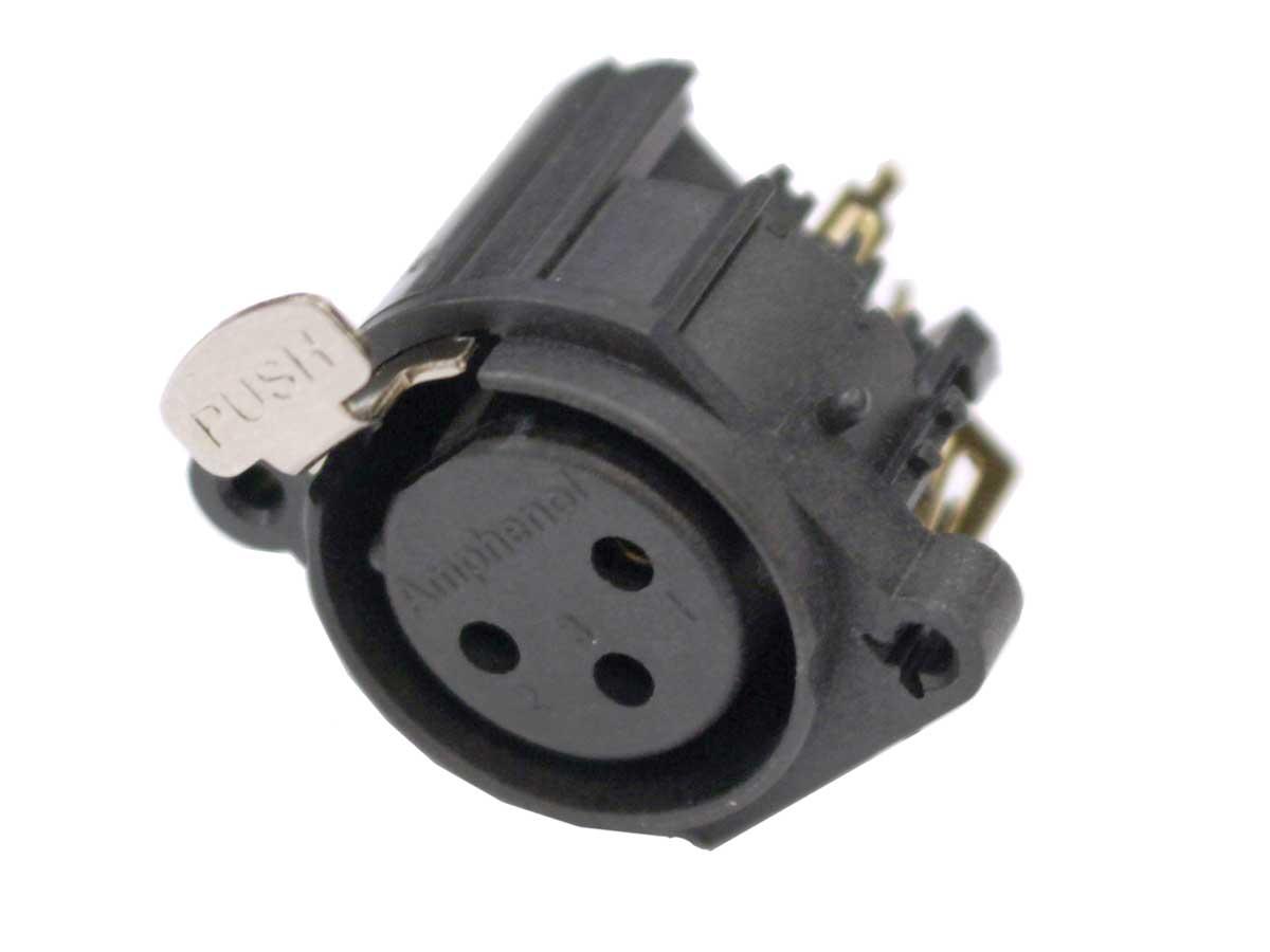 Conector XLR 3 pinos femea de painel horizontal para PCB PCI   Amphenol   AC3FAH-AU-B